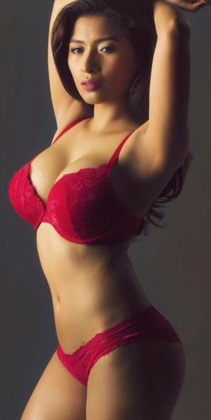 amateur photo Brown Skin in Red Lingerie is Perfect