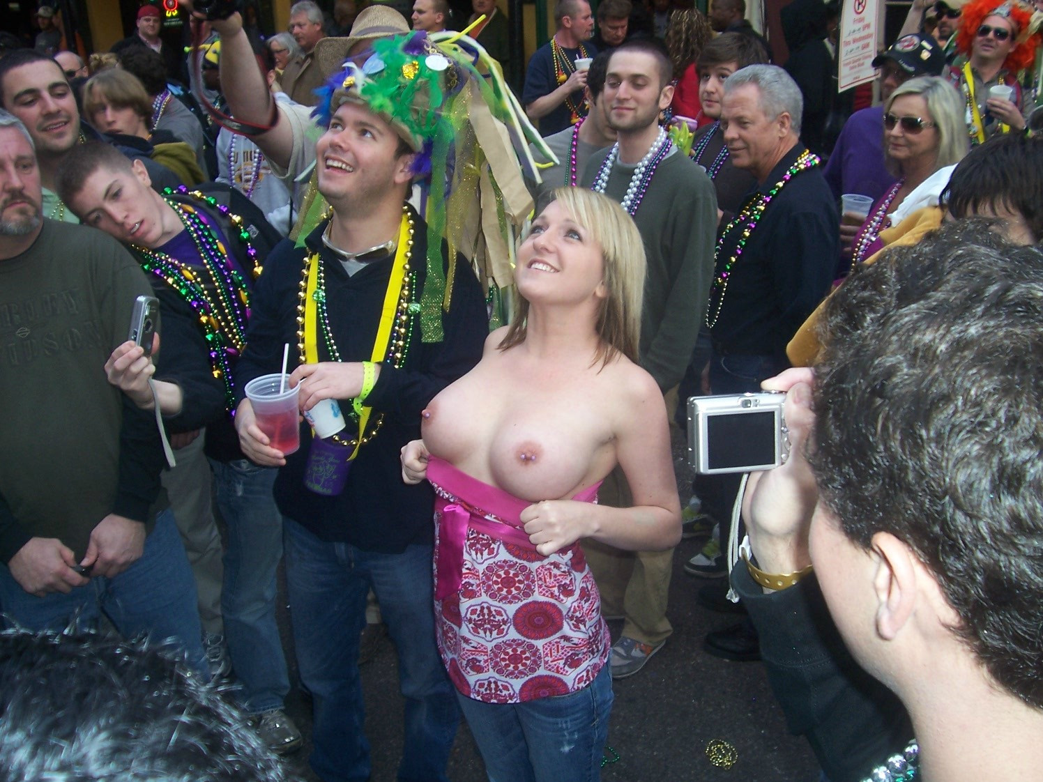 Boobs their mardi gras girls flashing