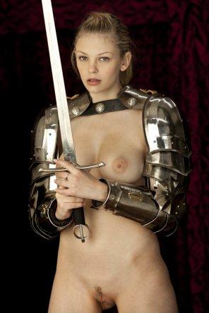amateur photo Naked beneath her armor