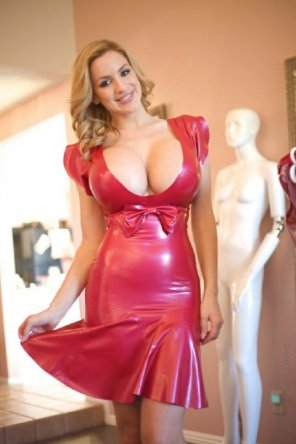 amateur photo Amazing rack in red dress