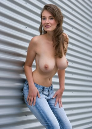 amateur photo Topless in denim.