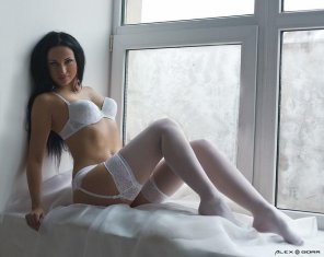 amateur photo Jet black hair in pure white lingerie