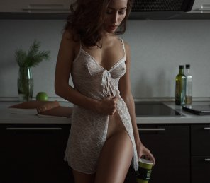 amateur photo Demure woman in lace