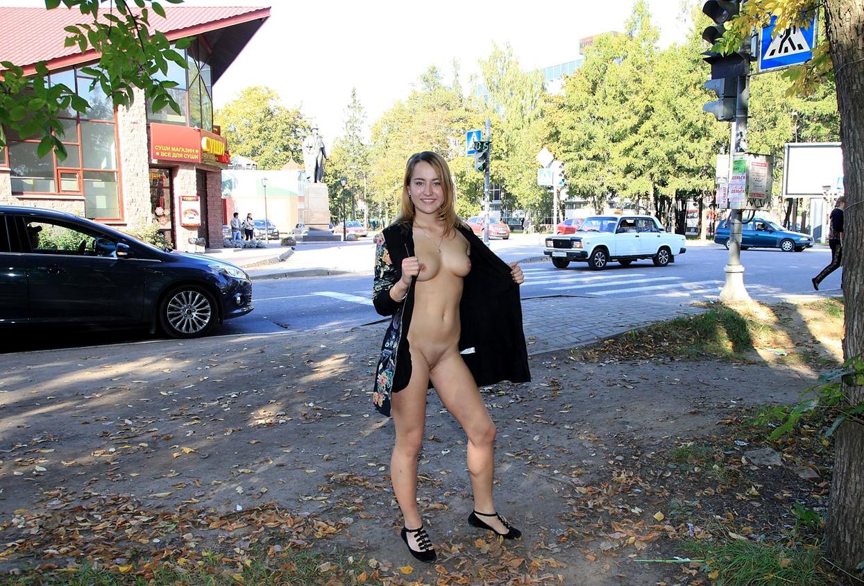 Public Flashing Blonde Teen