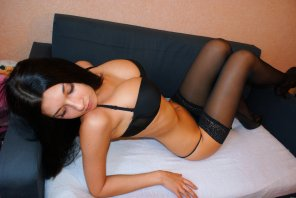 amateur photo Brunette in lingerie