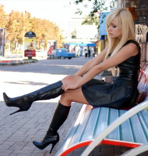 amateur photo Leather Dress and Boots