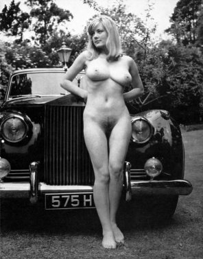 amateur photo Vintage Posing With A Rolls Royce