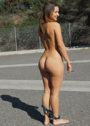 amateur photo Nude in the parking lot