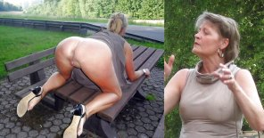 amateur photo mature exposer in the park