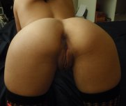 Brown amateur pussy from behind