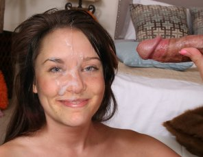 amateur photo Facial on Sweet Brunette