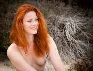 Redhead in nature