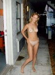 amateur photo Outside her motel room
