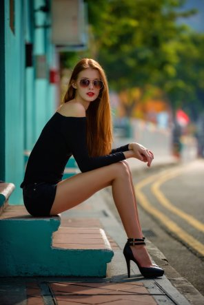amateur photo A redhead and her legs