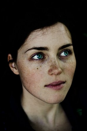 amateur photo Green eyed freckles.