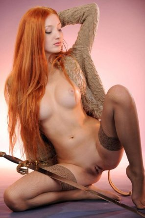 amateur photo Hot chick with a sword