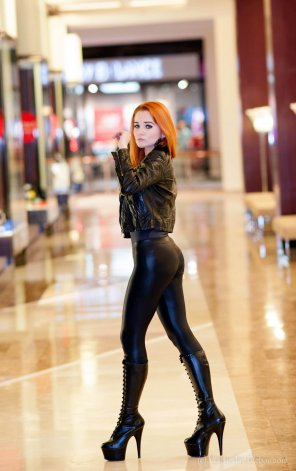 amateur photo Sexy redhead in stilettos at the mall.