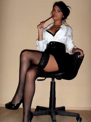 amateur photo Satin blouse