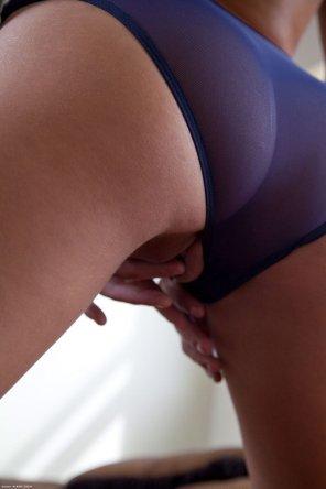 amateur photo Nina James delicately touching herself