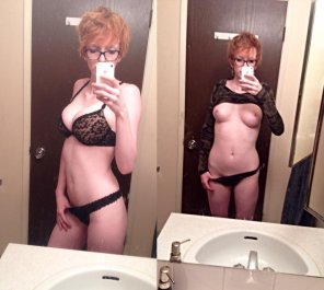 amateur photo Nerdy Busty Red Head