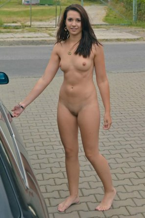 amateur photo Cutie about to take a nude drive
