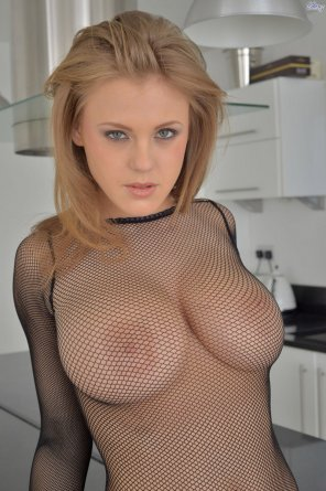 amateur photo Viola Bailey loves fishnets