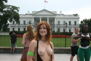 amateur photo Redhead Protester Outside White House!