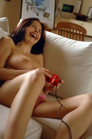 amateur photo Happy, Topless and Laughing