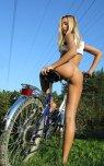 amateur photo Blonde on a bike