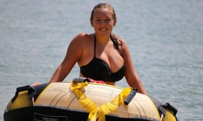 amateur photo If she goes tubing in that bikini, her boobs are going to fly out of it