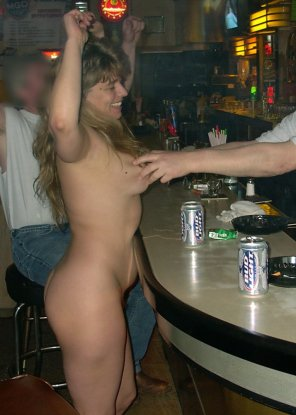 amateur photo Naked at the bar