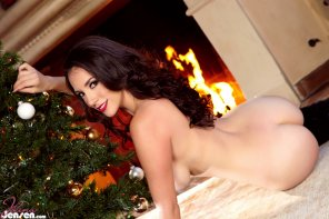 amateur photo Jelena Jensen by the Christmas tree