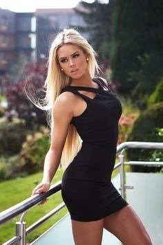 amateur photo Blonde in black dress