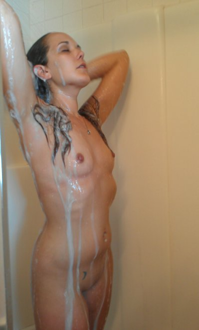 Petite brunette taking a shower Porn Photo