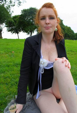 "amateur photo Redhead having a ""no panties"" picnic"
