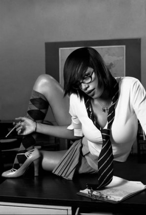 amateur photo rosario dawson in glasses in a uniform