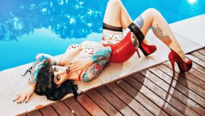 amateur photo Tattooed Pinup Girl in Latex and Heels