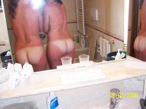 amateur photo Two sunburned bottoms