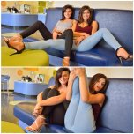 amateur photo Brook and Fiona from FTVGIRLS jilling through their jeans in public.