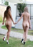 amateur photo Two teen tushies goin for a walk
