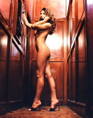 amateur photo Cerina Vincent making a call