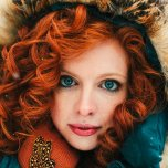 amateur photo Red hair and blue eyes