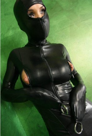 amateur photo Wearing a black latex suit