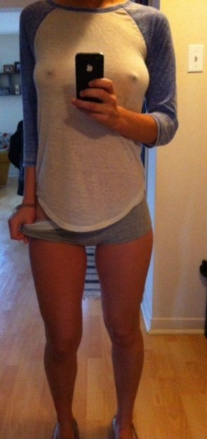 amateur photo Tight Shorts and Hard Nips