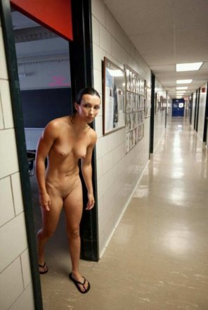 amateur photo Walking naked through school.
