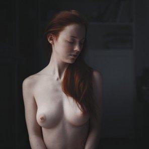 amateur photo Eyes closed, nipple pierced