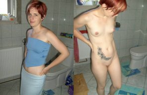 amateur photo Short red hair. Sort of looks like she's wearing a napkin