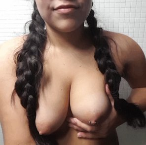 amateur photo New nipple piercing and pigtails