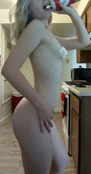 amateur photo Whipped cream in the kitchen, thinking bout you. 😉