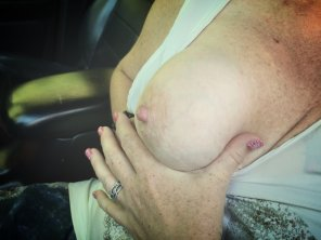 amateur photo [Image]Wife was feeling stingy with the titties that day. Actually, she wanted to drive to work, and I wanted to see tits. One tit was her compromise.